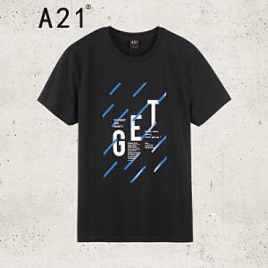 以纯线上品牌a21 2017夏装新款T恤男街头时尚字母印花圆领短袖上衣 175/88A(L)