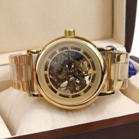男士镂空金银色机械手表 商务男表腕表  时尚防水多功能  3色