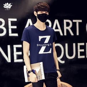 EASZin逸纯印品 男式短袖T恤 2017夏季新款韩版圆领宽松大Z印花体恤衫