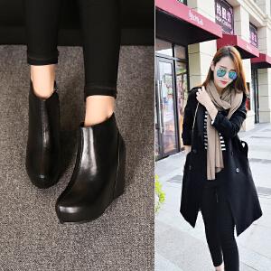 玛菲玛图欧美内增高跟马丁靴潮女短靴平底坡跟及裸靴短筒真皮女靴1190-1