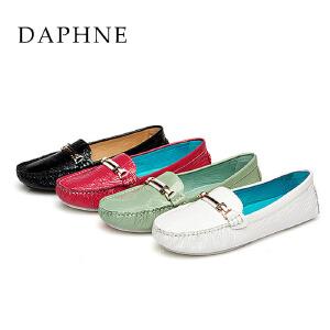 Daphne/达芙妮正品春秋真皮头层牛皮舒适平底软底单鞋1515101007