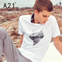 以纯线上品牌a21 夏季修身圆领短袖T恤 时尚运动几何印花舒适休闲潮流型男短T