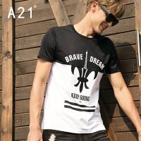 以纯A21圆领休闲短袖男T恤潮牌男士夏装新款青年时尚潮流运动街头男装