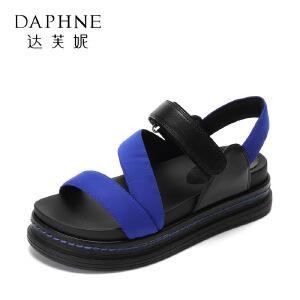 Daphne/达芙妮2017夏季韩版厚底凉鞋 百搭圆头撞色露趾魔术贴女鞋