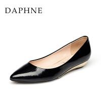 Daphne/达芙妮春季女鞋专柜 低跟浅口PU皮通勤单鞋1015101064