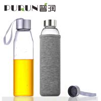 普润 550ML耐热玻璃水瓶创意车载玻璃杯子矿泉水瓶带盖茶杯PRB15灰色