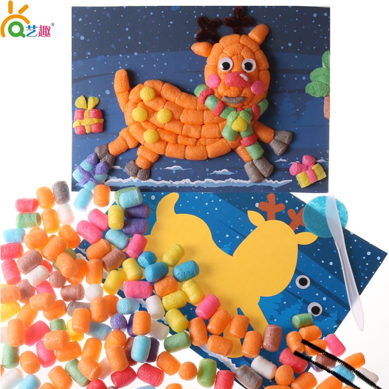 幼儿园手工材料包儿童黏贴圣诞节礼物diy玉米粒圣诞树雪人小鹿