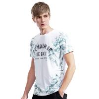 以纯A21印花T恤男短袖 小清新圆领修身上衣 青年男士夏装白色半袖衣服