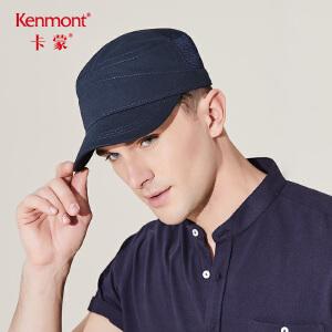 卡蒙平顶帽子男户外夏季军帽透气网黑色鸭舌帽男士中年太阳帽防晒3477