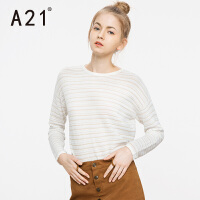 以纯A21女装圆领条纹长袖线衫女 秋装新款简约时尚休闲套头毛针织衫