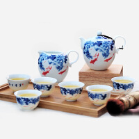 陶瓷故事 青花瓷茶具套装 富贵有余茶壶半组 功夫茶具8件套