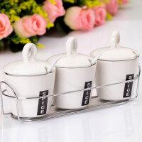 普润 南韩调味瓶白色调味瓶四件套 调味罐套装 陶瓷调味瓶