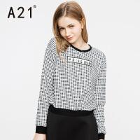 以纯A21秋装新款长袖T恤女学生短款圆领字母上衣女生时尚黑白宽松体恤