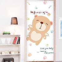 宜美贴 可爱熊 儿童房室内门装饰墙贴纸 创意卡通门贴