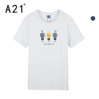 A21夏季短袖t恤男2017新款卡通男装潮流休闲欧美街头个性男士体恤