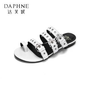 Daphne/达芙妮17王文也合作款休闲平底鞋 时尚扣带罗马风夹趾拖鞋