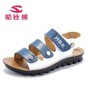 哈比熊童鞋2017夏款男童凉鞋软底中小童夏季韩版儿童沙滩鞋时尚潮