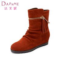 【冬季清仓】Daphne/达芙妮女鞋 平底内增高磨砂皮流苏雪地靴1014607184