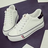 2017夏季新款帆布鞋女韩版内增高厚底系带小白鞋皮面学生平底板鞋