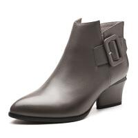 新款头层牛皮高跟时尚马丁靴舒适保暖女靴