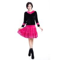 广场舞服装 中老年秋冬新款女士套装 舞蹈健身服 金丝绒演出服套装