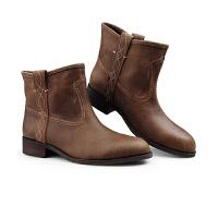 伊贝拉(YI-BELLA)秋季新款女靴英伦靴短靴圆头真皮牛皮靴低跟方跟马靴百搭骑士靴马丁靴
