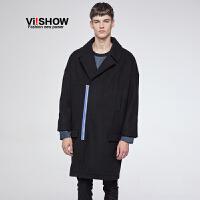 viishow秋冬韩版风衣男中长款青年休闲撞色外套时尚毛呢大衣