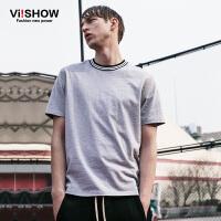 viishow夏装新款短袖T恤 韩版时尚宽松短袖男 纯色百搭t恤潮