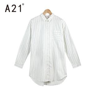 以纯A21女装条纹休闲百搭长袖衬衣 2017年春季新款宽松长袖女生衬衫