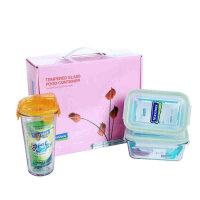 GLASSLOCK/三光云彩钢化玻璃 微波炉玻璃保鲜盒3件套 礼盒 带水杯 GL299