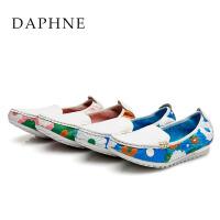 Daphne/达芙妮春季新款女鞋 低跟甜美真皮花朵拼色单鞋