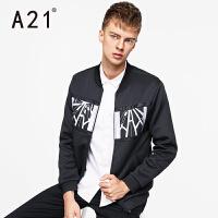 以纯A21秋装外套男时尚个性男士夹层外衣男修身棒球领黑色夹克男潮