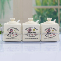 普润 卡通图案方形陶瓷调味罐调味瓶调料盒三件套 花