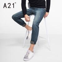 以纯A21男士复古纯棉长裤 牛仔裤男小脚青年修身型休闲裤子小直筒学生
