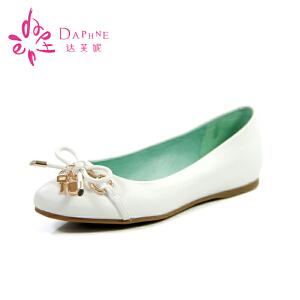 Daphne/达芙妮女鞋春 浅口平底鞋内增高蝴蝶结低跟女单鞋