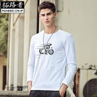 拓路者Pioneer Camp 春季弹力修身长袖T恤男士圆领 棉质印花t��青年白色打底衫 201034