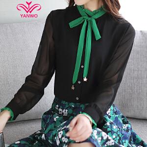 演沃 春装2017新款绿色飘带拼接立领长袖雪纺衫女百搭衬衫