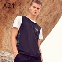 以纯线上品牌a21 男装背心 圆领弹力舒适透气男学生运动背心 休闲百搭时尚背心