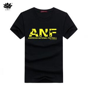 EASZin逸纯印品 男士短袖t恤 韩版圆领ANF字母印花半袖体恤衫 直筒版