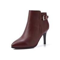 富贵鸟短靴 女尖头高跟靴子 秋冬新款细跟女靴时尚潮流单靴女鞋