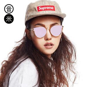 音米新款复古猫眼墨镜女潮2016圆脸炫彩偏光太阳镜开车眼镜女个性 AASBJH331
