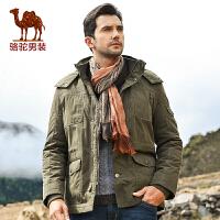 camel骆驼男装 冬季新款保暖棉袄 男士连帽棉服 商务休闲棉衣