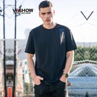 VIISHOW2017夏装新品撞色拼布装饰休闲短袖T恤男纯棉黑色男士短t