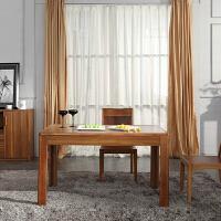 尚满 浅胡桃边框实木系列餐厅家具 餐桌 4餐椅 现代中式餐台 椅子 饭桌 一桌4椅