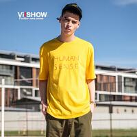 VIISHOW2017夏装新品圆领套头短袖T恤纯棉修身字母印花男士短t