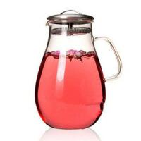 红兔子 超大容量耐热玻璃壶不锈钢盖花茶壶