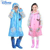 Disney/迪士尼 儿童带书包位雨衣充气帽檐带夜行反光条米奇米妮学生雨衣YQ1014