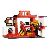 小鲁班 拼插塑料积木儿童玩具 消防局消防车积木3000
