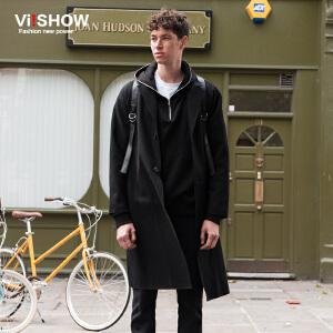 VIISHOW潮牌男装秋装新款风衣中长款纯色风衣外套青年大衣男