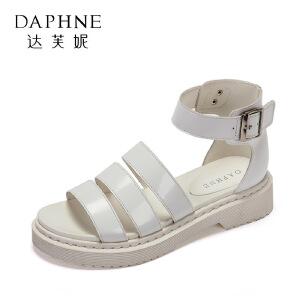 Daphne/达芙妮2017夏舒适低跟学生凉鞋 优雅扣带圆头露趾粗跟女鞋
